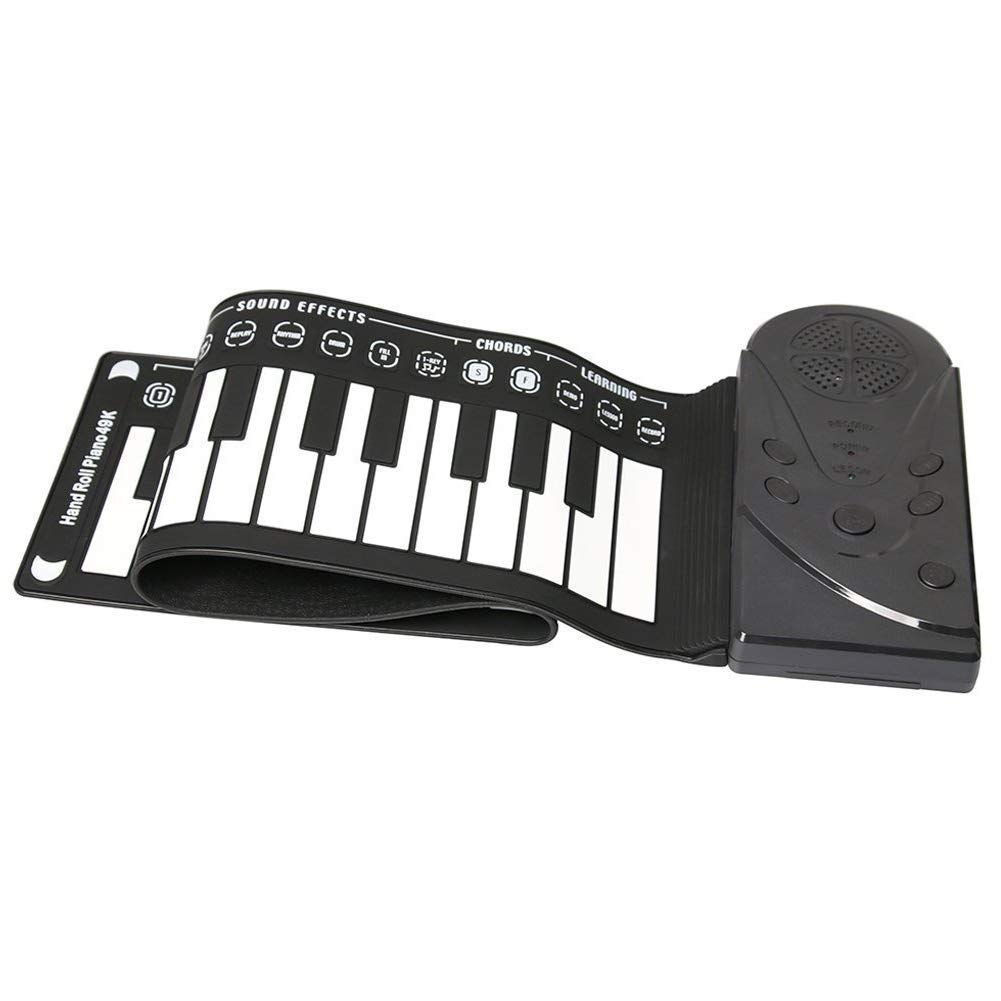 Elrido Portable Electronic Piano Keyboard Kids 49-Key Roll-Up Piano Keyboard Portable Flexible Musical Educational Toy Instrument Soft Responsive Keys Universal Soft Roll Up Piano (Black) by Elrido