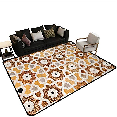 (Modern Area Rug with Non-Skid Antique,Detail of Inlay and Geometric Carvings Asian Taj Mahal Tomb Architecture,Cream Orange Brown,for Living Room Bedrooms Kids Nursery Home Decor 6'x)