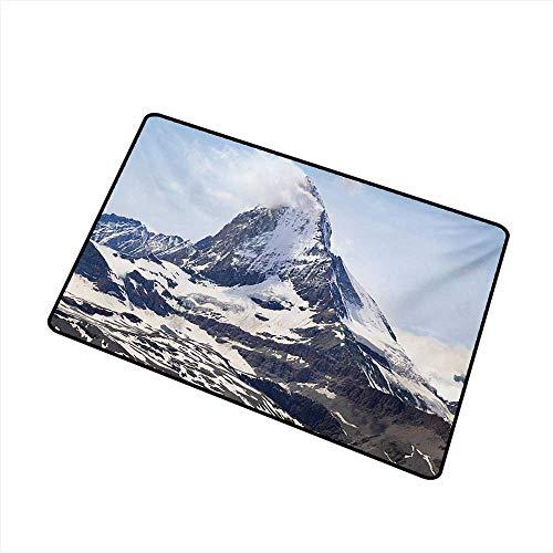 (Diycon Waterproof Door mat Mountain Matterhorn Summit with Clouds Mountain Scenery Glacier Natural Beauty Image W20 xL31 All Season General)