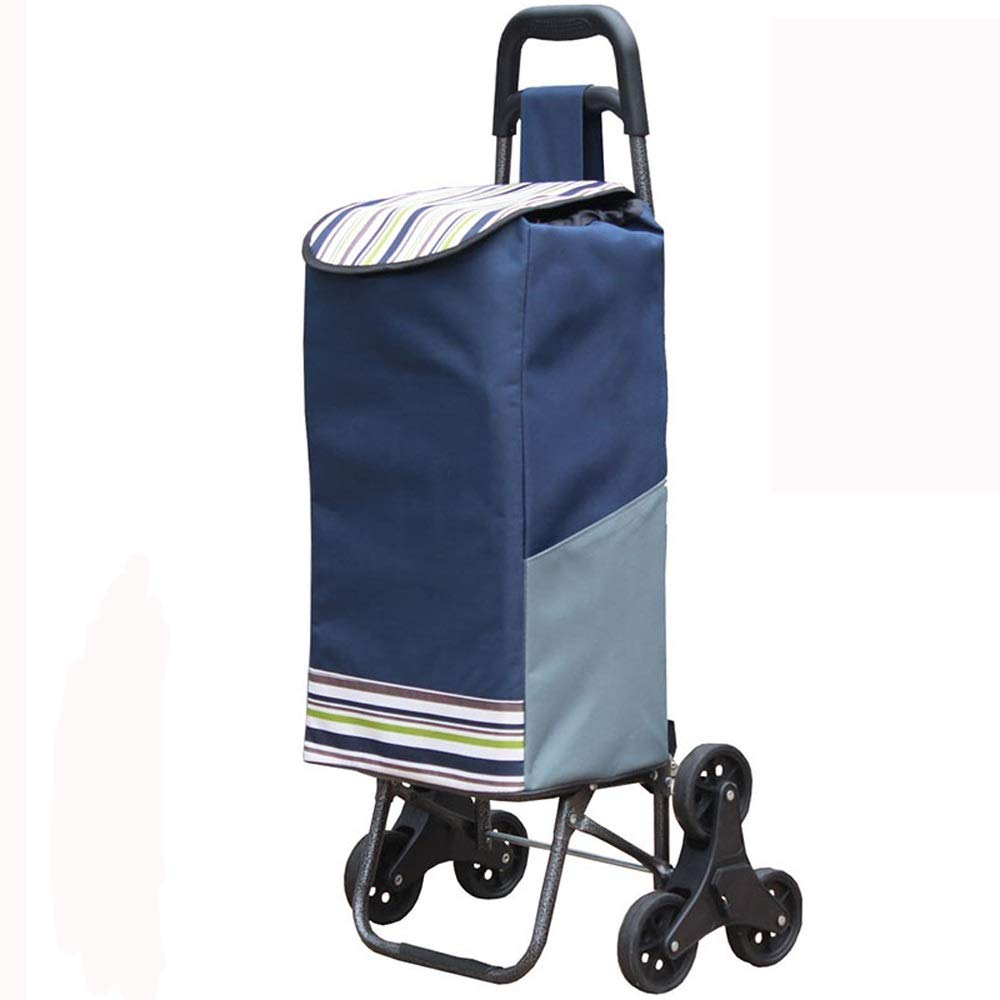 QING MEI ポータブル折りたたみショッピングカート、6輪クライミングショッピングカート、老人バッグトレーラー/トロリー/トロリー A+ (色 : A) B07NXSWVM4 A