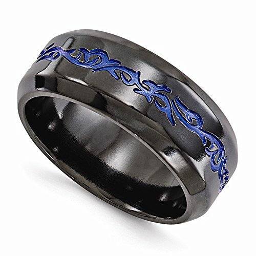 Edward Mirell Black Titanium with Blue Anodized Pattern High Polish Finish 9mm Wedding Band - Size 13 by Edward Mirell