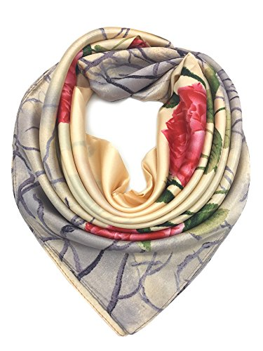 (YOUR SMILE Beige Peony Silk Like Scarf Women's Fashion Pattern Large Square Satin Headscarf,Beige & Red)