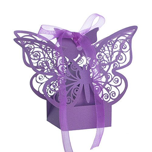 Aspire 50 PCS Butterfly Laser Cut Favor Boxes Wedding Gift Boxes for Party - Wedding Favor Butterfly
