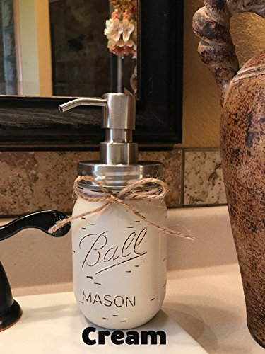 Gray Lotion - Soap Dispenser Mason Canning JAR Hand PAINTED & Distressed Ball Pint ~ STAINLESS STEEL ~ Kitchen, Bathroom, Lotion or Soap ~Gray Grey Seafoam Light Blue Turquoise Pewter Green Cream Tan Brown Yellow