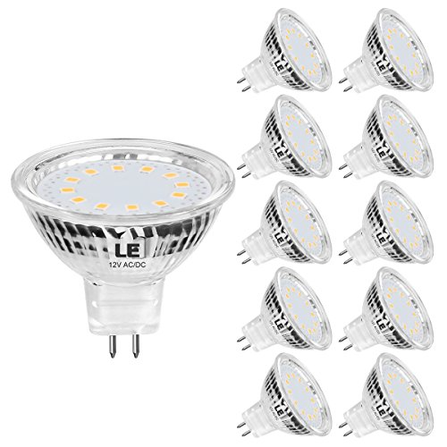 LE MR16 GU5.3 LED Light Bulbs Non Dimmable, Clear Lens, 12V AC/DC, 35W Halogen Equivalent, 2700K Warm White, 3.5W 330lm, 120 Degree Flood Beam LED Bulb Replace for Recessed Lighting Spotlight, 10-Pack
