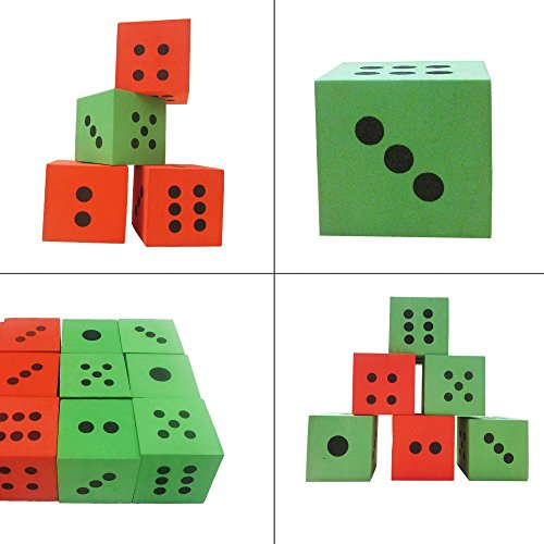 Pack of 24 - Green and Red Playing Soft Foam Dices – Board Games, Family Games, Party Favor, Themed Birthday- Kids and Adult – All Ages and All Stages! by Toy Cubby (Image #2)