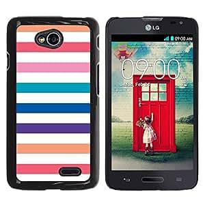 For LG Optimus L70 / LS620 / D325 / MS323 Case , Beach Lines White Colorful Pastel - Diseño Patrón Teléfono Caso Cubierta Case Bumper Duro Protección Case Cover Funda