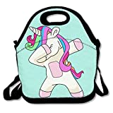 Hip Hop Cool Dabbing Dab Dance Cute Lovely Unicorn Mint Green Lunch Handbag Lunchbox Tote Bags Insulated Cooler Warm Pouch With Shoulder Strap For Women Girls Kids Adults Teens