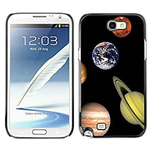 LASTONE PHONE CASE / Slim Protector Hard Shell Cover Case for Samsung Note 2 N7100 / Solar System Planets Saturn Earth Mars Jupiter