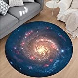 Nalahome Modern Flannel Microfiber Non-Slip Machine Washable Round Area Rug-al Spiral Galaxy Expanse beyond Milky Way Planet Astral Space Art Decor Petrol Blue Coral area rugs Home Decor-Round 40″ Review
