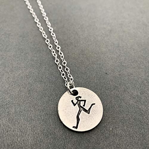 RUNNER GIRL Round Pewter Pendant Necklace on Sterling Silver Flat Cable Chain - Round Pewter RUNNER GIRL Pendant on 18 inch Sterling Silver Flat Cable Chain