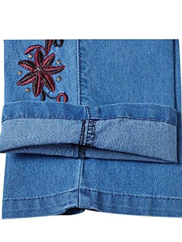 Taille Blue Bigassets brods Light Jeans droits Pantalons Femmes Printemps L haute t qZ4tTU