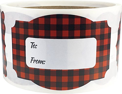 - Red Buffalo Plaid Christmas Gift Tags Holiday Present Stickers 2 x 3 Inch 100 Total Labels