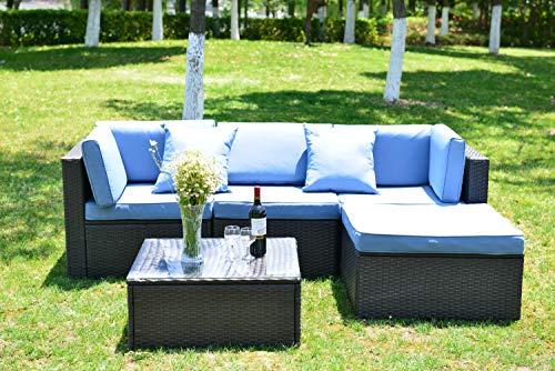 GOJOOASIS Outdoor Patio PE Wicker Rattan Sofa Sectional Furniture Conversation Set with Cushion and Pillow, Steel Frame, Black (5pcs Rattan Sofa Set) (Best Sectional Couches 2019)