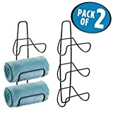 mDesign Wall Mount or Over Door Bathroom Towel Rack - Pack of 2, Bronze