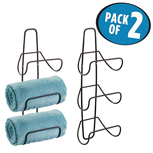 mDesign Wall Mount or Over Door Bathroom Towel Rack - Pack of 2, Bronze by mDesign