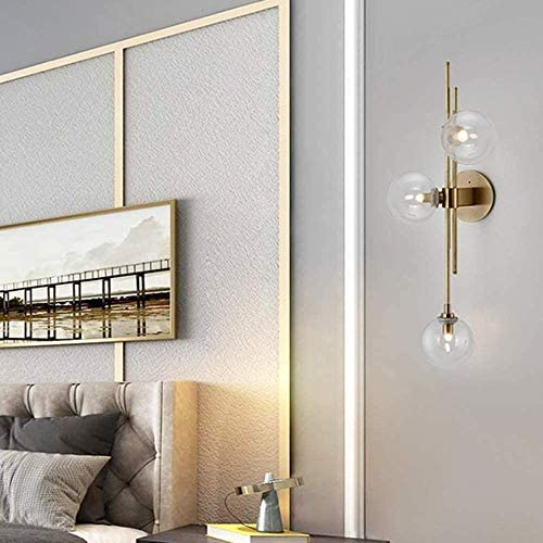 XIANGAI Easy Install Golden Post Modern Wall Lamp Simple Art Personality Living Room Bedside Corridor Wall Lamp Bar Lighting 28 * 74 (cm) Illuminate Your Life