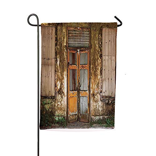 iPrintsophierhome Garden Banner Outdoor Flag Flags,House with Boarded Up Rusty Doors and Mold Windows,Holiday Decorations Outdoor Garden Decoration Digital Printing Flag