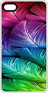 Colorful Feathers White Rubber Case for Apple iPhone 5 or iPhone 5s