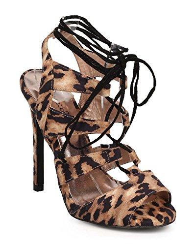 Qupid Women Leopard Peep Toe Gilly Tie Wrap Stiletto Sandal DG27 - Camel Leopard (Size: 8.5)