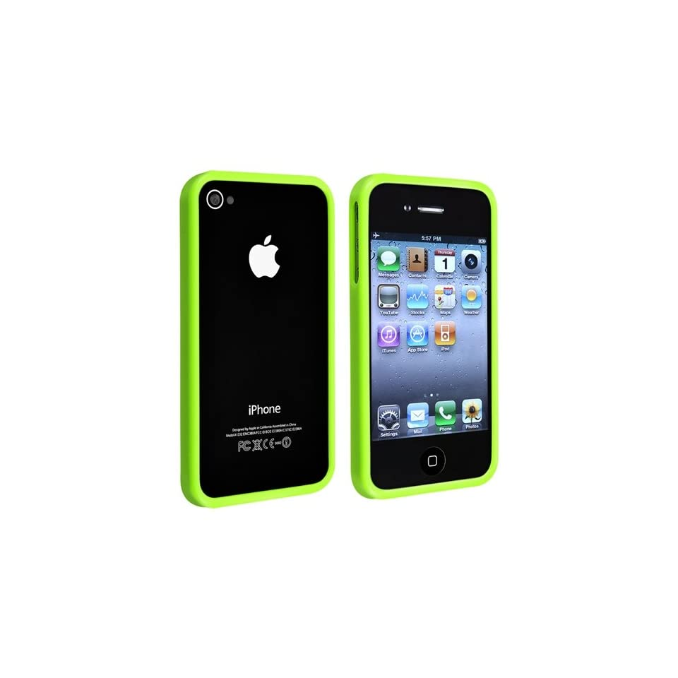 eForCity TPU Rubber Bumper Case + with Free Reusable Clear Screen Protector Compatible with Apple® iPhone® 4 4S, Green Shiny
