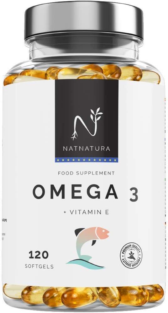 Omega 3+Vitamina E. Alta dosis de ácidos grasos Omega 3, 2000mg. Alta concentración de EPA–DHA. Efecto antiinflamatorio y antioxidante.Complemento alimenticio a base de aceite de pescado. 120 cápsulas