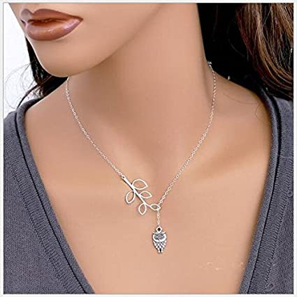 cb62731f99044 Beautiful Lariat Style Leaf and Owl Necklace !!!