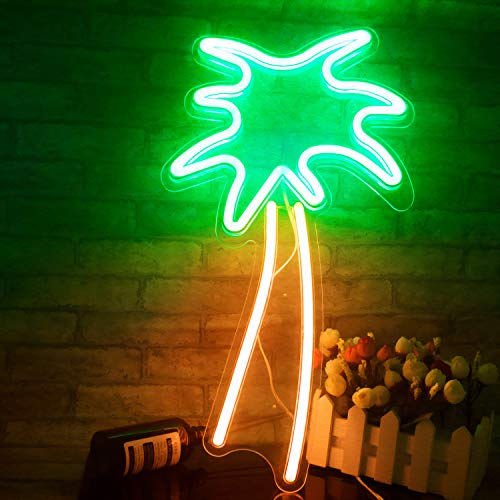 Coconut Palm Tree Neon Signs LED Neon Lights with Battery Powered/USB for Art Wall Decor Room Wall Kids Bedroom Birthday Party Bar Decor 18.9