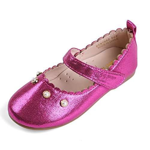 EIGHT KM EKM701 Toddler & Girl's Ballet Flats Mary Janes Dress Shoes Fuchsia