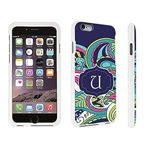 DuroCase ? Apple iPhone 6 Plus - 5.5 inch Hard Case White - (Mint Flower Monogram U)