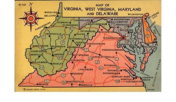 Amazon Com Map Of Virginia West Virginia Maryland And Delaware