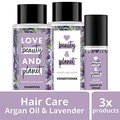 (Love Beauty And Planet Smooth and Serene Shampoo, Conditioner and Leave In smoothie cream, Argan Oil & Lavender, 13.5 oz, 2 ct and 4 oz)