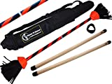 Flames N Games FLASH Flowerstick Set (UV Orange) Silicone Coated Flower Stick & Wooden Handsticks + Travel Bag! Ultra Strong Fibreglass core! Ideal For Beginners & Pros!