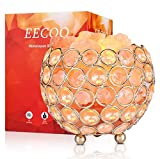 Himalayan Salt Lamp Pink Crystal Sea Salt Rock Lamp Bowl 2x15W Bulbs,Metal Base,Dimmable Controller,UL-Listed Cord
