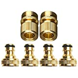 Zinger New Garden Hose Quick Connector, 3/4'' GHT Brass Easy Connect Washer Garden Hose Fittings,4PCS Male 2PCS Female
