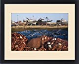 Framed Print of Africa, Morocco. Fish nets, floats, boats, and commercial fishing vessels of the