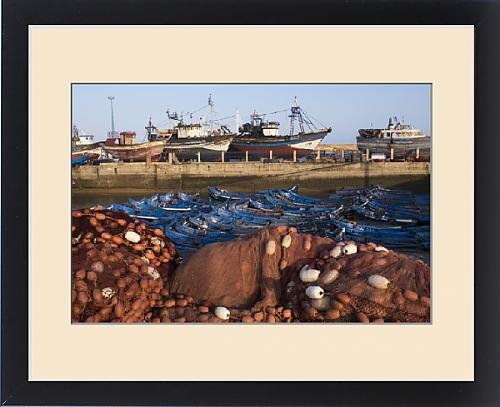 Framed Print of Africa, Morocco. Fish nets, floats, boats, and commercial fishing vessels of the by Fine Art Storehouse