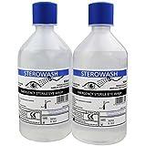 Steroplast Sterowash Lot de 2bouteilles de solution saline de rinçage oculaire 2x500 ml