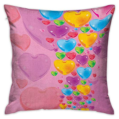 Princess Square Custom Pillowcase Romantic Stylized Art with Colorful Crystal Hearts Creative Fun Celebration Theme Multicolor Cushion Cases Pillowcases for Sofa Bedroom Car W17.7 x L17.7