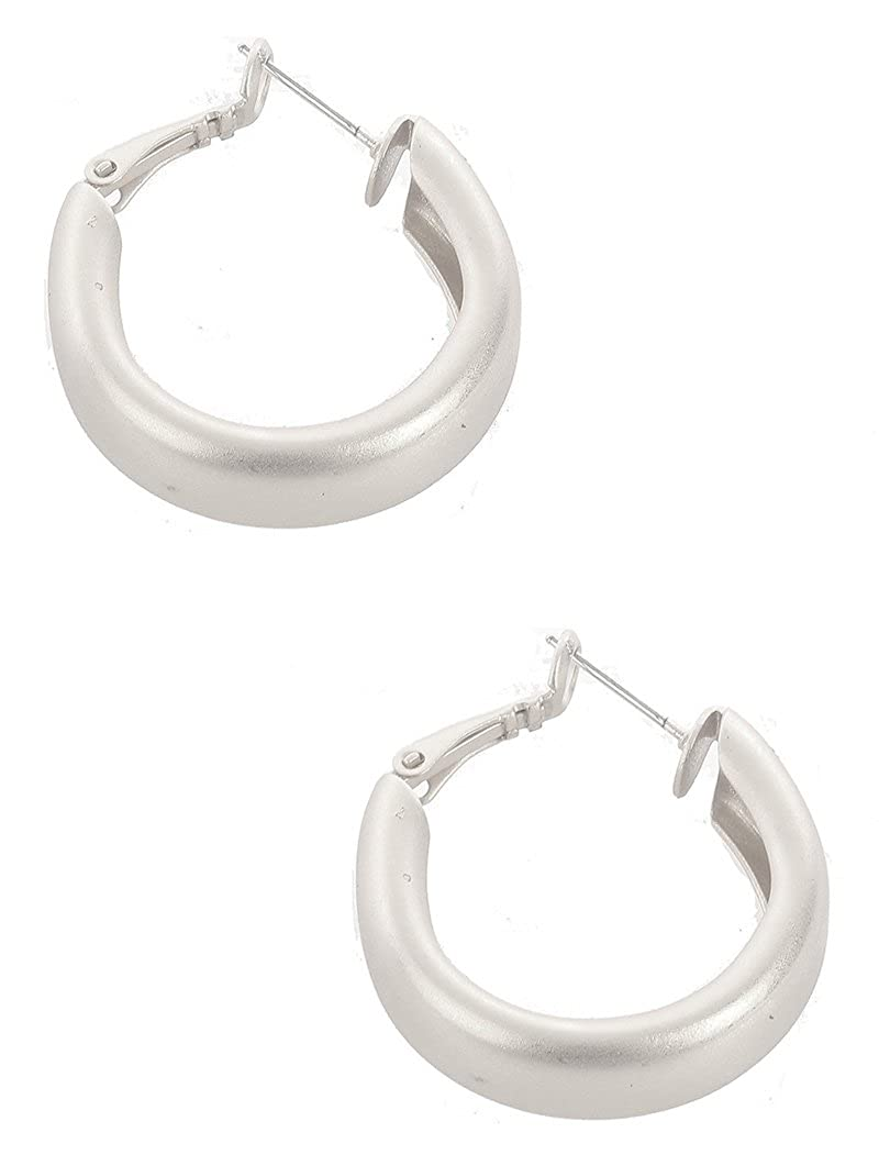 Destinees silver MATTE FINISH METAL HOOP EARRING