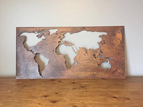 Laser Cut World Map.Amazon Com Patina Finish Laser Cut World Map Handmade