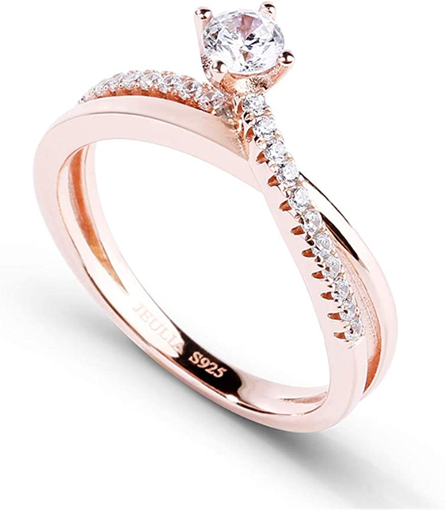Jeulia 14K Gold Plated Rose Gold Band X Rings for Women cz Sterling Silver Eternity Rings Wedding Engagement Anniversary Promise Rings Bridal Sets