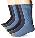 Gold Toe Men's 12-Pack Cotton Crew Athletic Sock, Assorted Blues, 10-13 (Shoe Size 6-12.5)