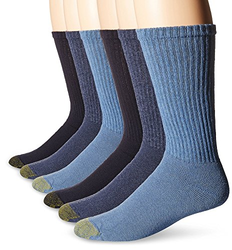 Gold Toe Men's Cotton Crew Athletic Sock 6-Pack (2 PK (12 PAIR) 10-13, Washed Blue/Sky Blue/Midnight)