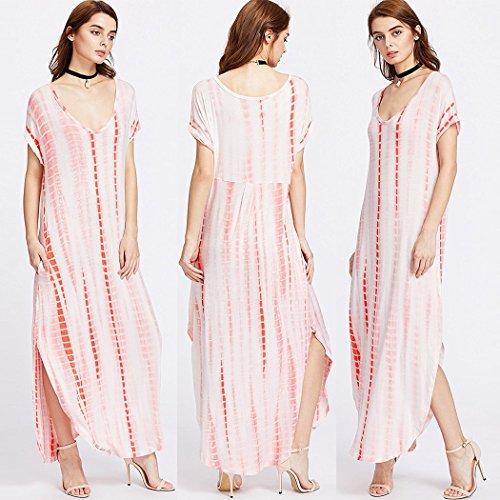 Red Cover Women's Striped Dress up Dress Loose Beach Bikini Kaftans Long Turkish U4Pq0wxR4