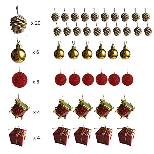 BANBERRY DESIGNS Mini Christmas Ornaments - Assorted Set of 40 Ornaments - Gold Mini Ball Ornaments - Pine Cones and Presents - Mini Red Drums - Each Ornament is About 1/1/2
