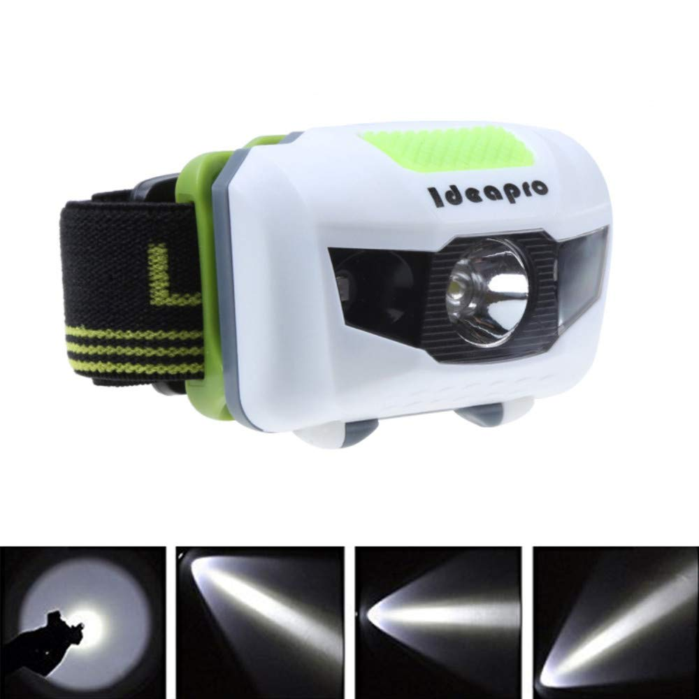 Ideapro LED Headlamp, 4 Lighting Modes Headlight, Battery Powered Headlamp Flashlight Brightest and Lightweight, Waterproof with Adjustable Headband and Flashing SOS Light for Camping Running 2 Pack by Ideapro (Image #4)