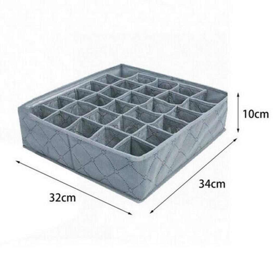 linselles Carbón de Bambú 30 Rejillas Libremente Separable Bras Ropa Interior Calcetines Almacenamiento organizada Caja Organizadores de Cajones