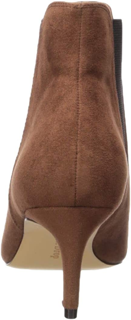 Amazon Brand - Women's Stella Pull-on Kitten Heel Boot by The Drop Brown Microsuede