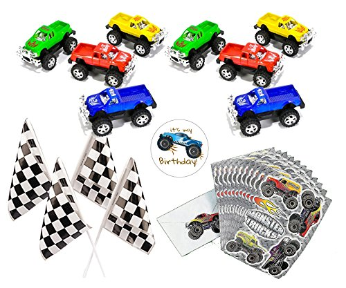 Monster Truck Party Favors for 12 - Pull-Back Trucks 3 Inch (12), Monster Truck Stickers (12 Sheets), Checkered Flags (24), and a Happy Birthday Sticker (Total 49 pieces)